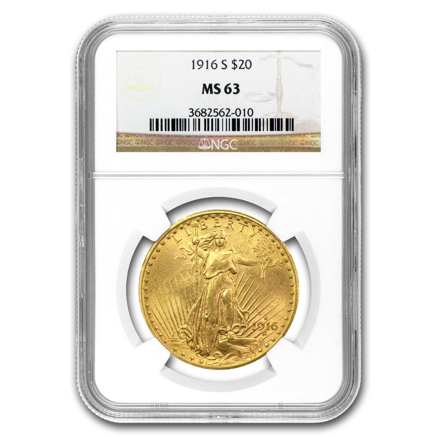1916-S $20 St. Gaudens Gold Double Eagle MS-63 NGC